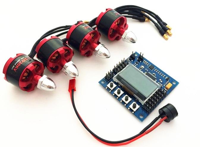 ФОТО KK2.1 Multi-rotor LCD Flight Control Board With 6050 MPU And Atmel 644PA & 4pcs 2212 920KV Brushless Motor