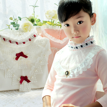 2017 Autumn Girls Turtleneck T-Shirt Cotton Children White Pink Shirts Baby Girls Clothing Long Sleeve Bottom Tops For Kids