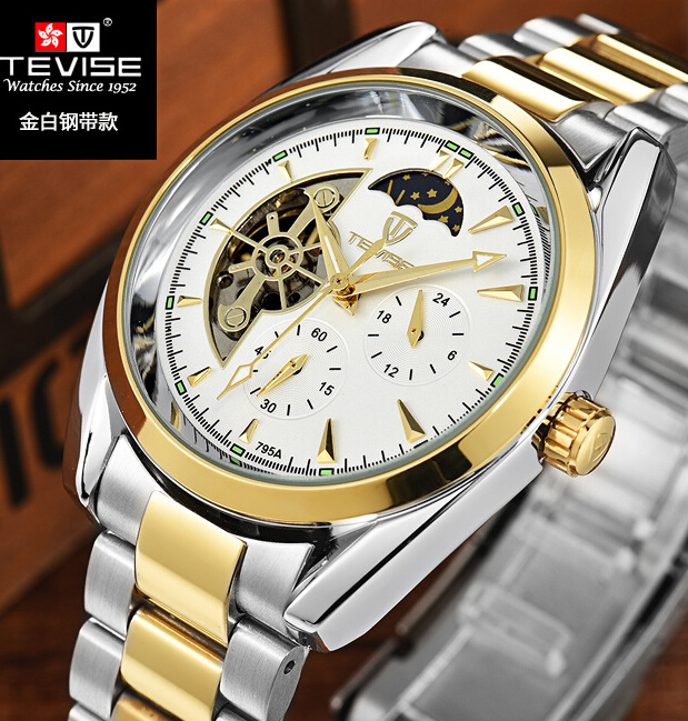 Tevise fully-automatic mechanical watch stainless steel commercial watch mens watch steel strip waterproof calendar watch A020 tevise men watch black stainless steel automatic mechanical men s watch luminous waterproof watch rotate dial mens wristwatches