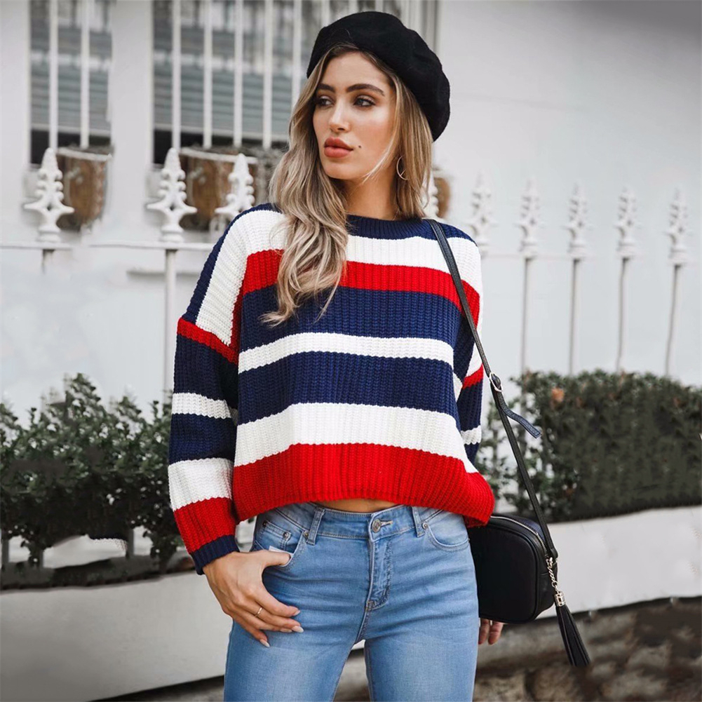Sweater Women Autumn Winter Short Cotton Jersey Pullover Striped O-neck Jumper For Female Loose Causal Autumn Women Sweater
