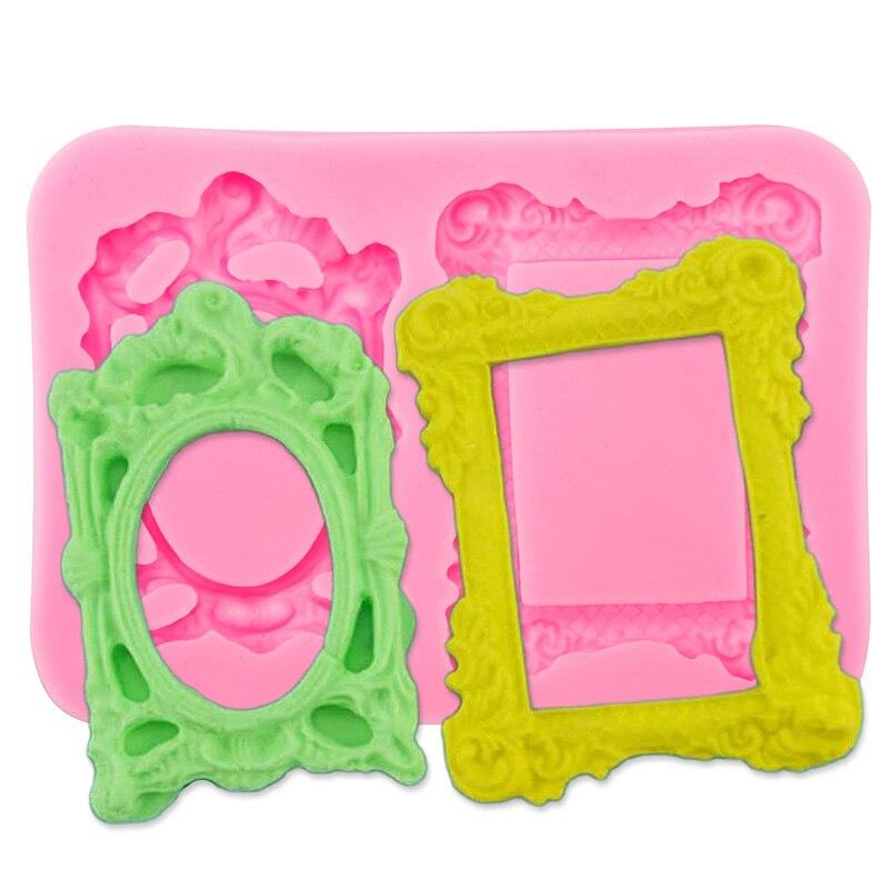 Nueva cocina 3D DIY Cake Decor marco del espejo molde de silicona Fondant decora