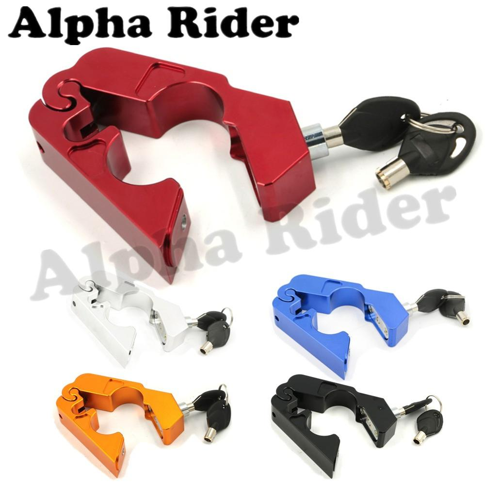 CNC Motorbike Lock Scooter ATV Pit Dirt Bike Handlebar Security Safety Lock Brake Throttle Grip Protection w/ Rubber Adapters