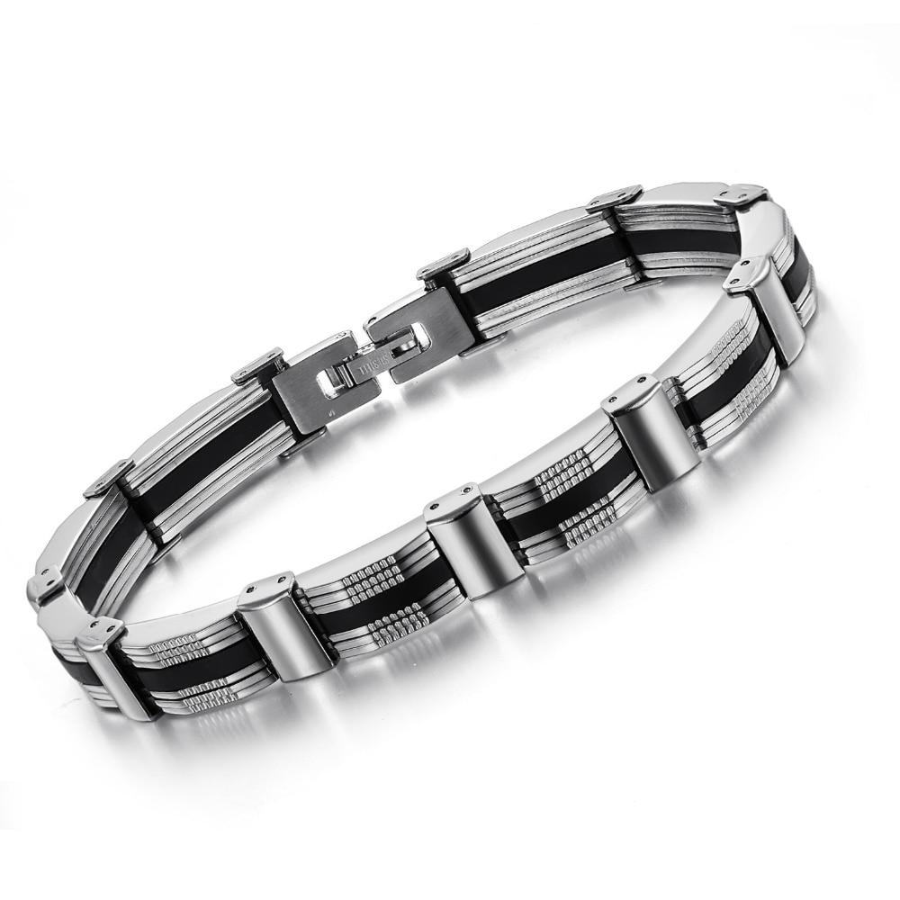 ERLUER Stainless Steel Men Bracelets Punk Chain Bracelets Bangles Male Jewelry Retro Biker Charm Homme Bracelet