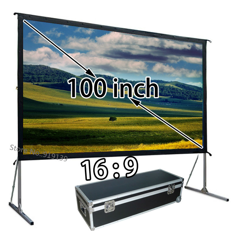 Mobile Projector Screen 1080p With Floor Stand Front Projection Screens 100inch 16:9 For Backyard Movie portable 100 inches 16 9 tripod projection screen hd floor stand bracket projector screens matt white factory supply