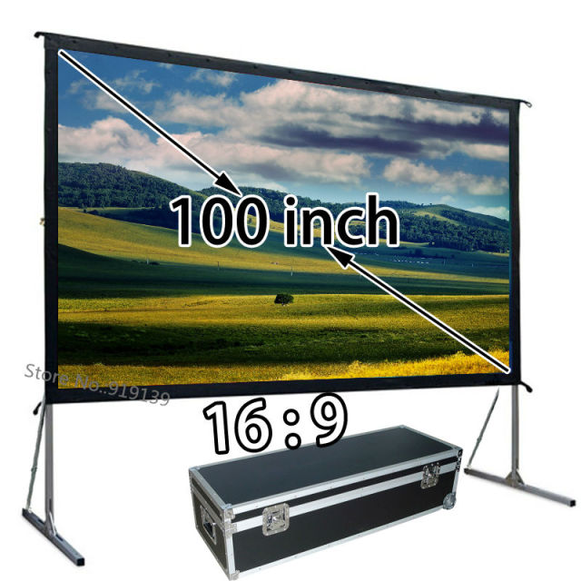 mobile projector screen 1080p with floor stand front projection screens 100inch 169 for backyard - Projection Screens