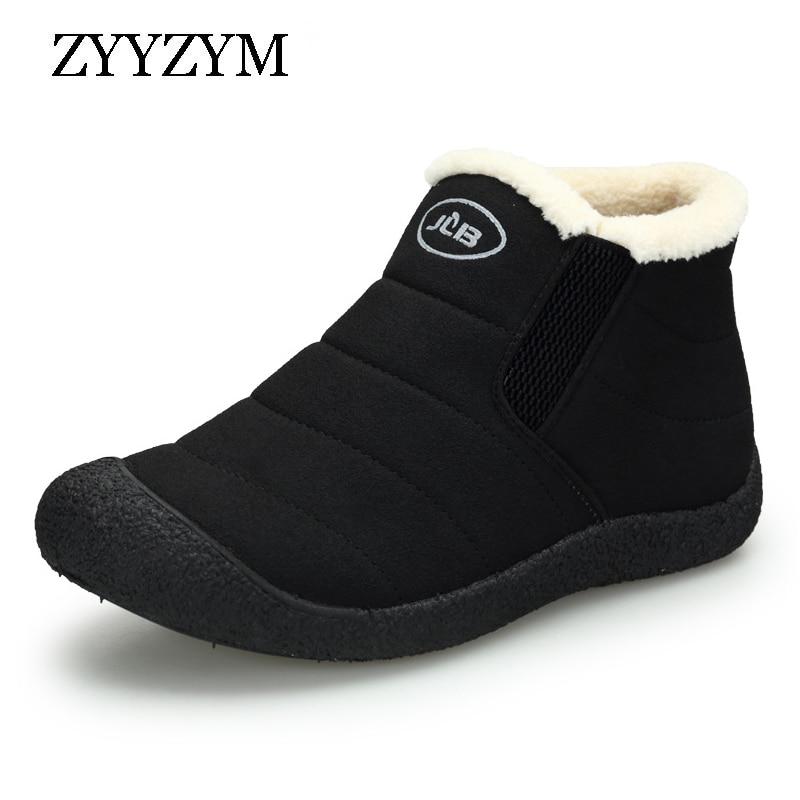ZYYZYM Mens Boots Winter Keep Warm Snow Boots Unisex Fashion Plush Cotton Shoes Man Boots Winter Boots Bota Coturnos Masculino
