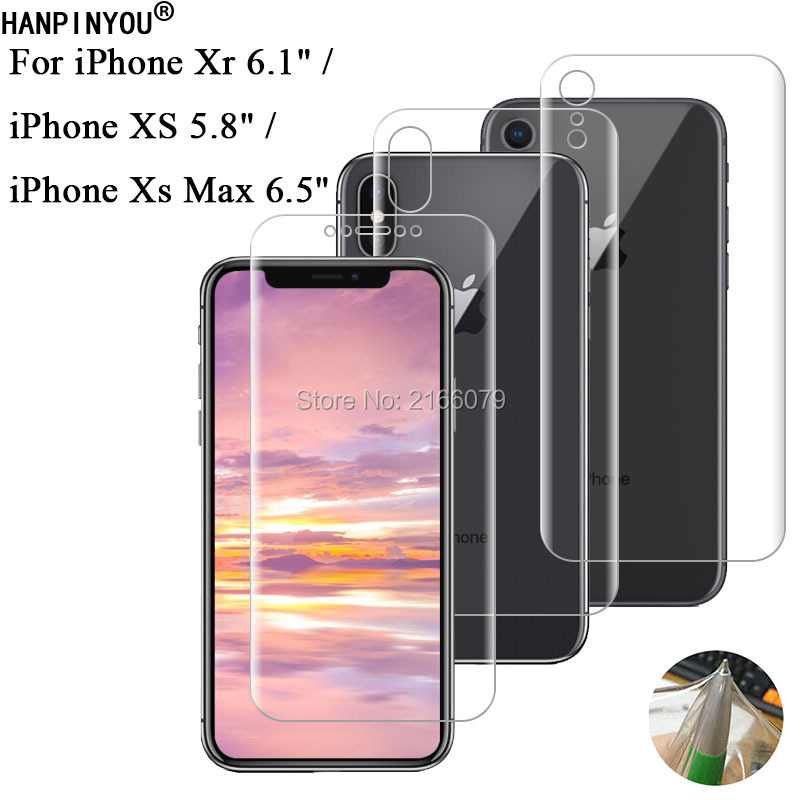 For Apple iPhone Xs Max Xr Soft TPU Front Back Full Cover Screen Protector Transparent Protective Film + Clean Tools iPhone XR