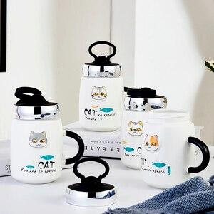 Nova chegada adorável gato caneca de leite resistente ao calor gatinho dos desenhos animados copo de porcelana com capa copo de café criativo presentes de escritório