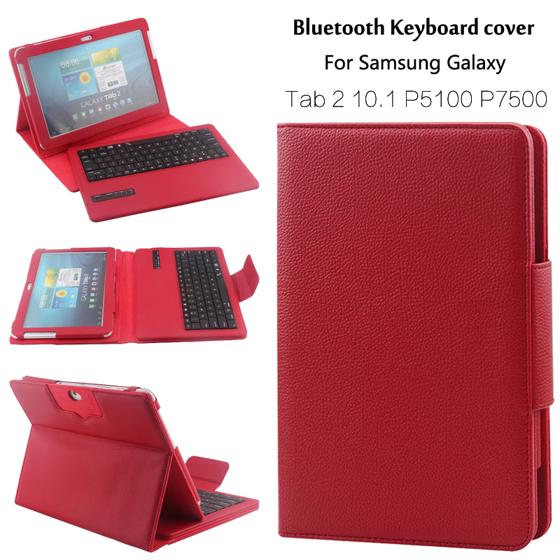 For Samsung GALAXY Tab 2 10.1 P5100 P5110 P7500 Removable Wireless Bluetooth Keyboard Portfolio Folio PU Leather Case Cover+Gift