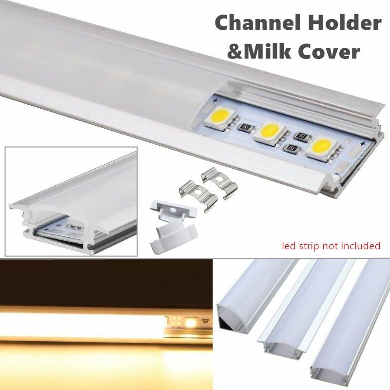 30/50cm LED Bar Lights Aluminum Channel Holder Milk Cover End Up Lighting Accessories U/V/YW-Style Shaped For LED Strip Light