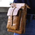 Oil Wax Cowhide Shoulder Bag Messenger Small Bags Men Hip Belt Cell/Mobile Phone Camera Case Genuine Leather Fanny Waist Pack