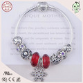 Luxurious European Popular Red Silver Snowflake Design Charms DIY 925  Authentic Silver Charm Bracelet