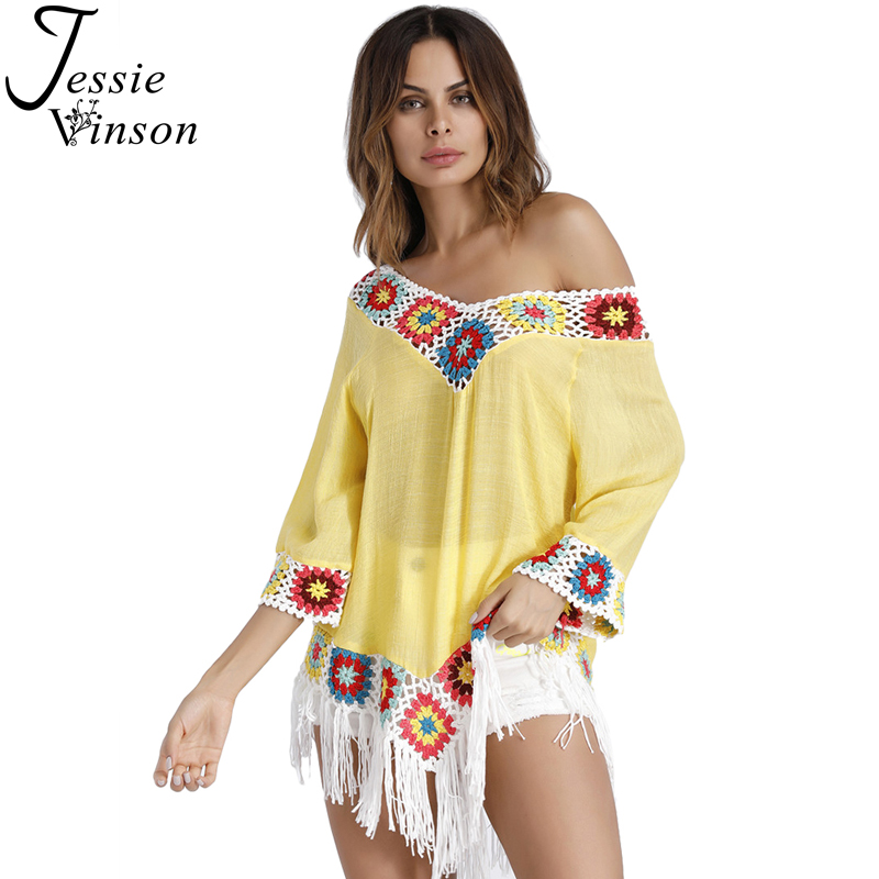 Jessie Vinson Plus Size Bohemian style Crochet Tassel Loose Blouse Shirt Women Tops Ethnic Boho Beach Wear Pullover