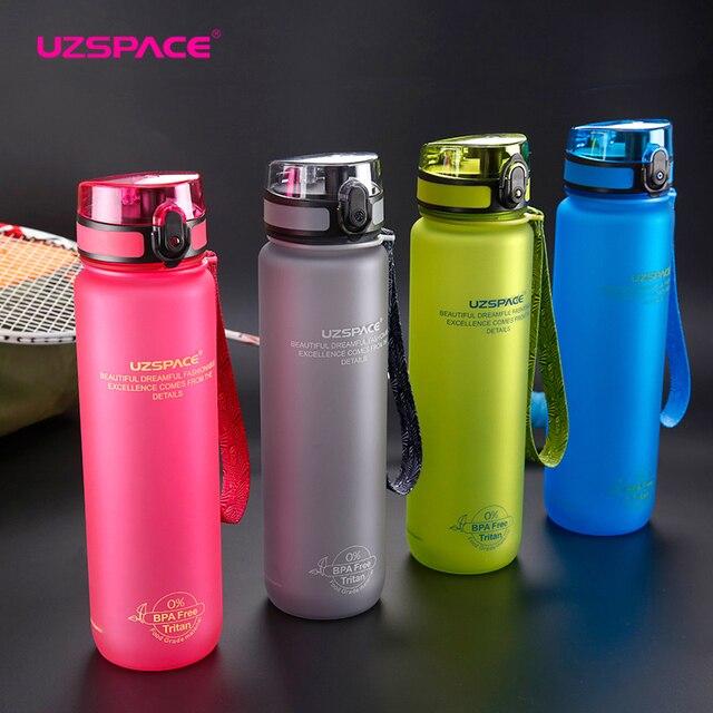 UZSPACE Sport bouteilles deau sans BPA protéine Shaker Portable étanche espace adulte voyage Camp randonnée plastique ma boisson bouteille 800/1000ML