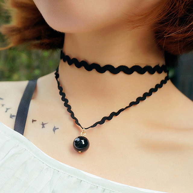 N706 90's Chokers Necklaces For Women Black Simulated Pearl Double Layer Short Collares Fashion Jewelry Gothic Bijoux HOT 2017