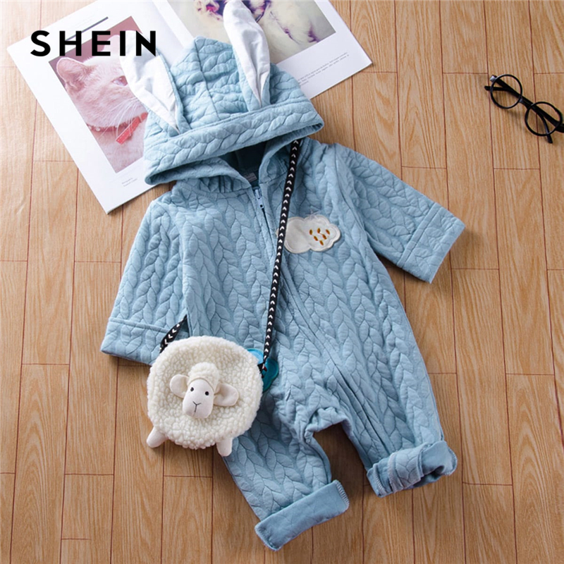 SHEIN Blue Toddler Girls Patched Cartoon Warm Infant Hooded Jumpsuit Without Bag 2019 Spring Fashion Long Newborn Baby Clothes new baby rompers winter thick warm baby boy clothing long sleeve hooded jumpsuit kids newborn outwear for 0 36m