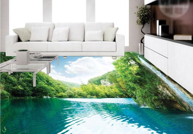 Aanpassen Chinese stijl 3d vloer schilderen behang waterval ...