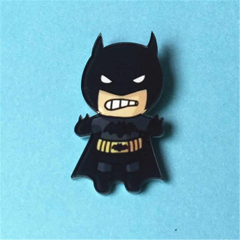 94fcaedc174c Free Shipping Acrylic Hero Spiderman Batman Captain America Pin Badge  Backpack Dress Decoration Badges Clothes Badge
