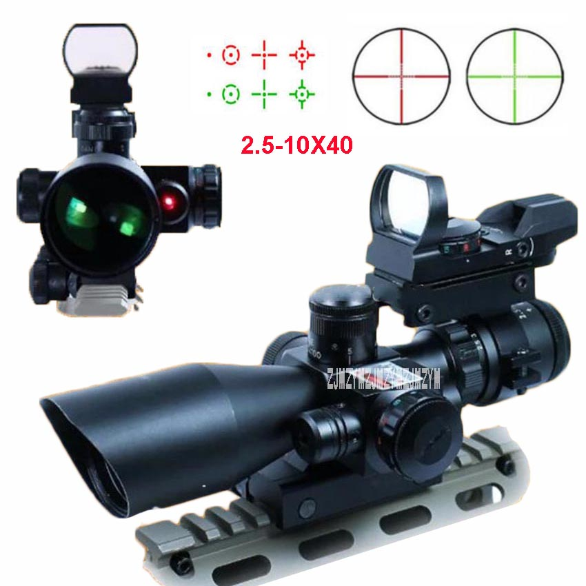 Illuminated Tactical Riflescope 2.5-10X40 Red Green Dot Laser Sight Scope Spotting Shooting Hunting Sniper Scope 20mm Rail Mount hot sale 2 5 10x40 riflescope illuminated tactical riflescope with red laser scope hunting scope page 1