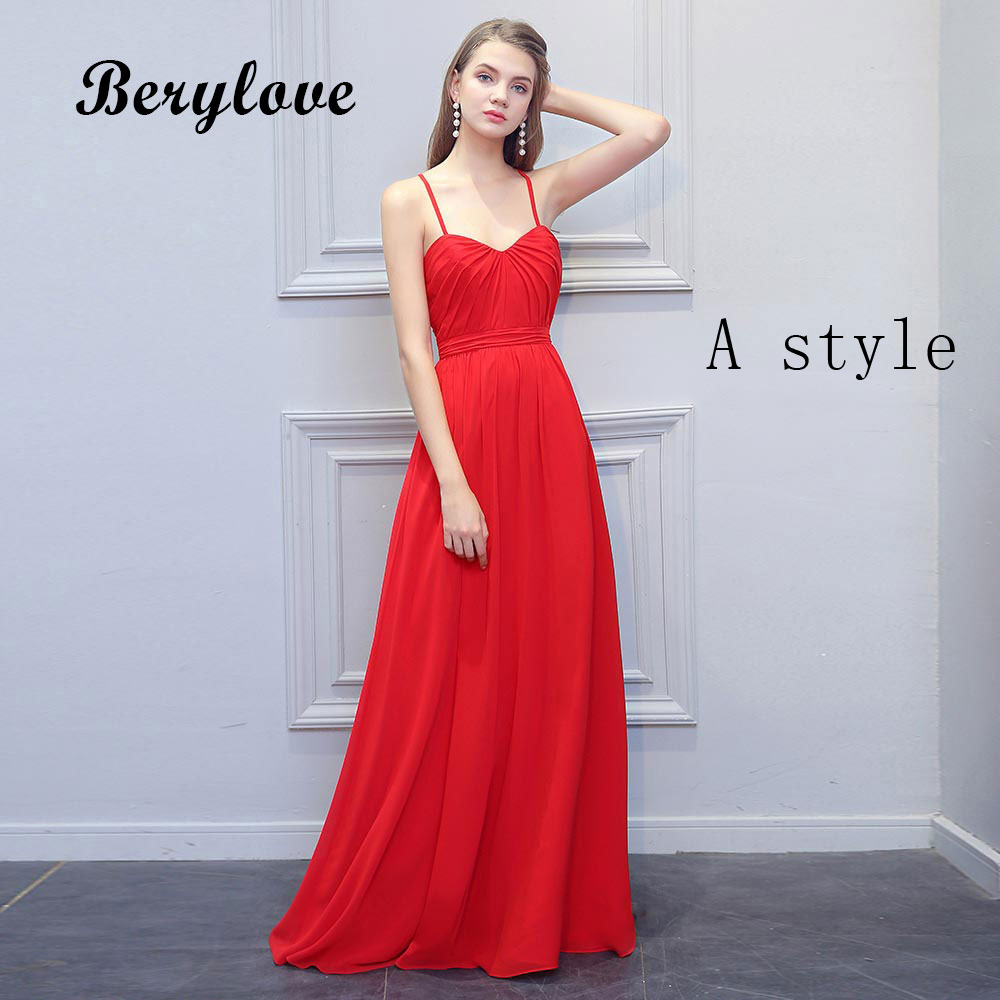 BeryLove Simple Red Evening Dresses 2018 Long Spaghetti ... Red Dresses For Women 2018