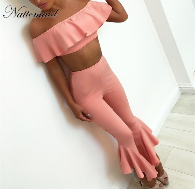 NATTEMAID Sexy Crop ruffles Tops and Pants Set off shoulder Women 2 Piece  Set Summer Style strapless Short Tees Long Pants Suit 5b861b174f
