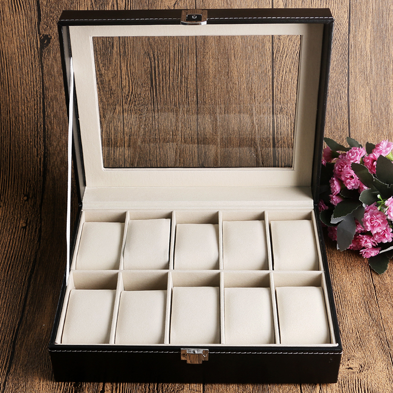 Fashion Display Case Organizer Classical Black Leather Box For Watch Foam Pad High Quality Elegant Gift Boxes caja de reloj