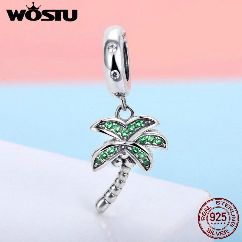 WOSTU 2019 Summer Hot Style 925 Sterling Silver Coconut Palm Tree Dangle Charm Fit DIY Beads Bracelet Original Jewelry FIC697