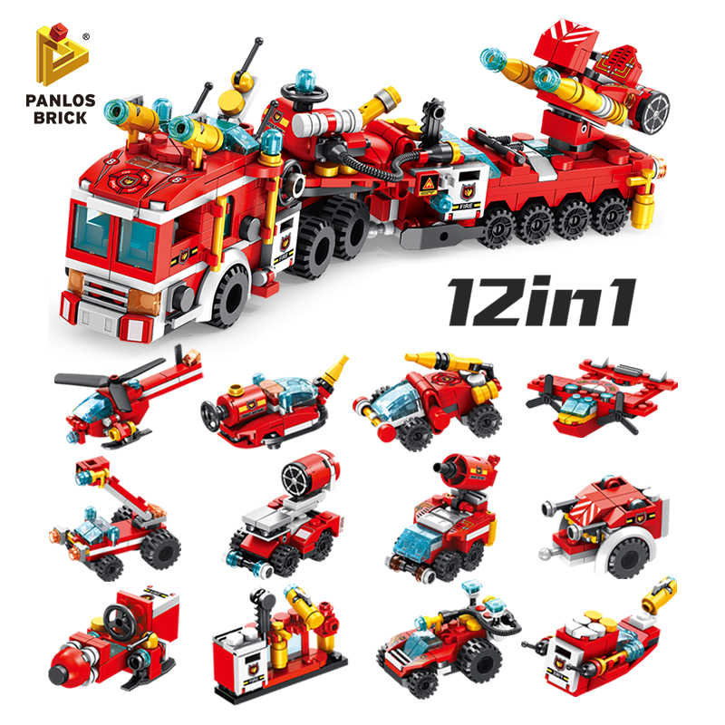 557PCS Fire Brigade 12in1 Fire Ladder Trucks Tool Car Helicopter Motorboat Sleigh Car Firefighting Plane Building Block Kids Toy