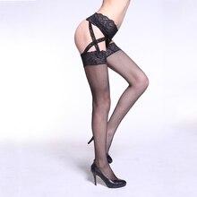 Las nuevas mujeres sexy dama moda fishnet negro encaje medias con criss  cross de garterbelt seguir siguiendo caliente medias 396b77f9a40d