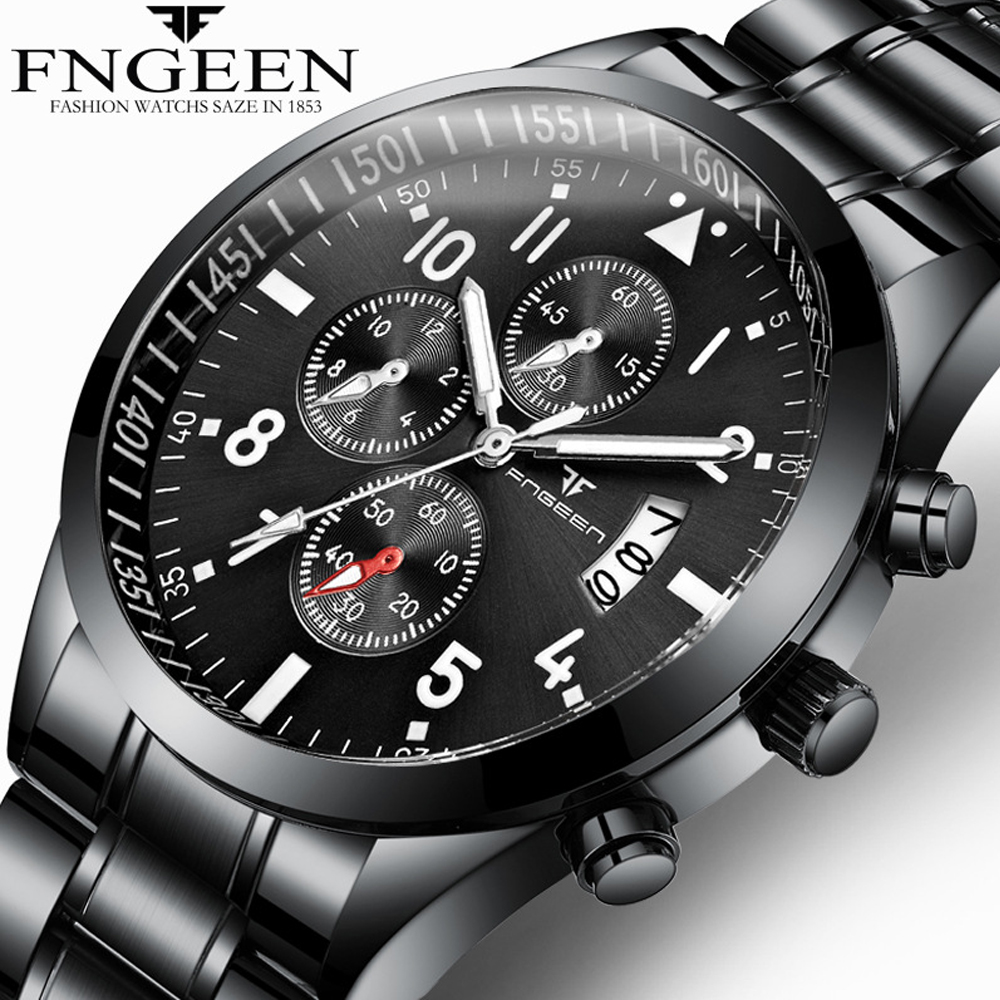 FNGEEN Men Luxury Fashion Quartz Watch business Casual Analog Military Male Clock Waterproof Stainless Watches relogio masculinoFNGEEN Men Luxury Fashion Quartz Watch business Casual Analog Military Male Clock Waterproof Stainless Watches relogio masculino