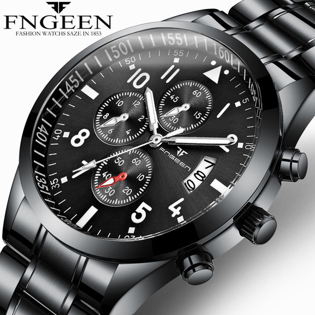FNGEEN Men Luxury Fashion Quartz Watch business Casual Analog Military Male Cloc
