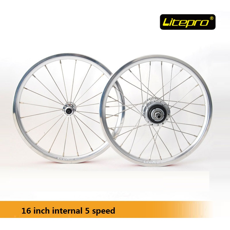 Litepro 16 Inch Wheel set Road Folding Bike Internal Derailleur Wheelset 5 speed 16inch Bicycle wheel Refiting Accessory west biking bike chain wheel 39 53t bicycle crank 170 175mm fit speed 9 mtb road bike cycling bicycle crank