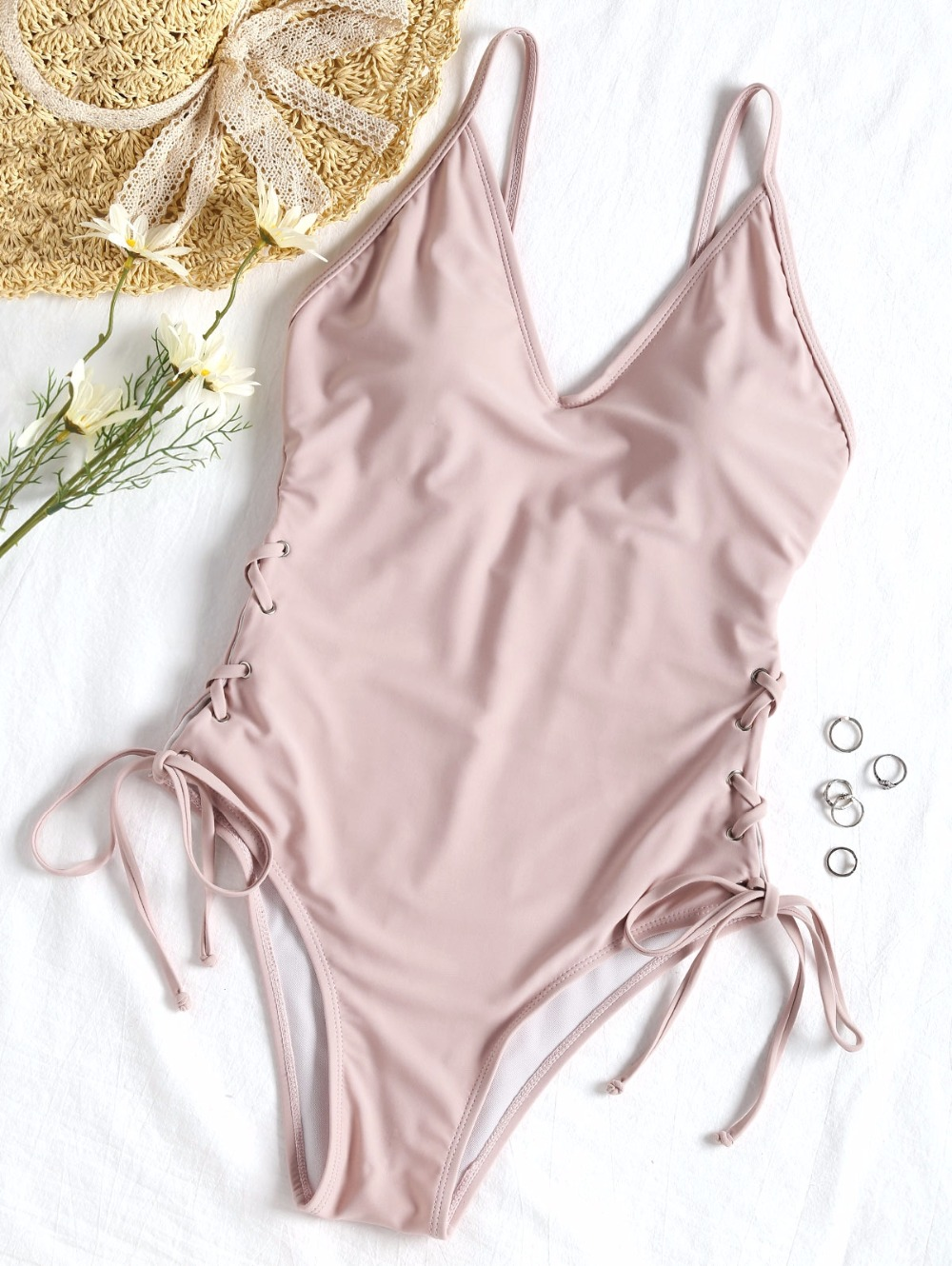 Lace-up Padded Spaghetti Straps One Piece