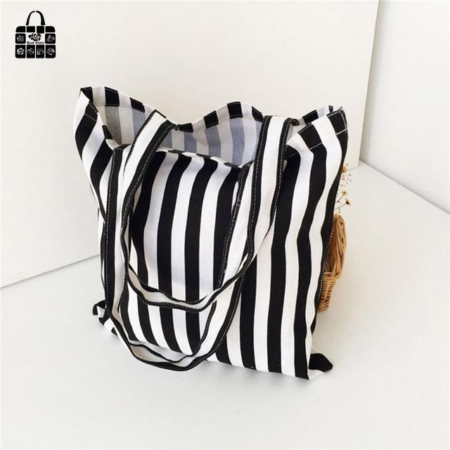 Classic black&white stripes 100% cotton canvas Handbags large capacity Shopping Beach Bags Women Girl Shoulder bags 2