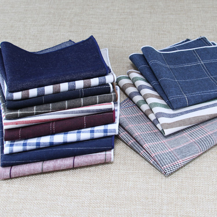 2019 Korean 9.5 Inch Cotton Fashion Striped Jacquard Weave Mans Hankerchief Classics Suit Pocket Square Luxury Chest Towel Prom