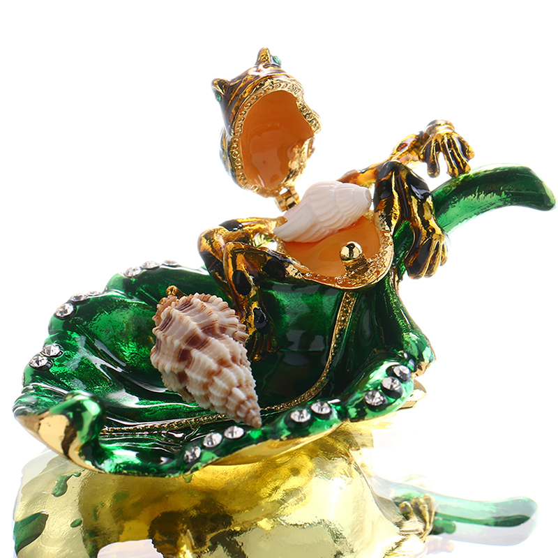 1.2inch Metal Frog in Leaves Figurines Wedding Ring Trinket Box with Crystal Holder Earring Jewelry Storage Box Gril Gift Crafts