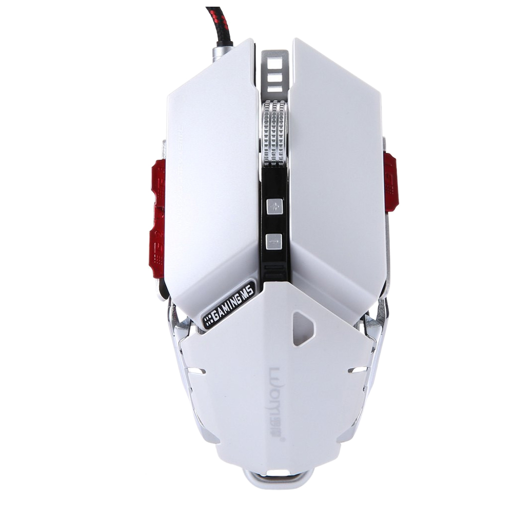 LUOM G50 Wired Programmable 10 Buttons 4000 DPI Professional Optical Mechanical Ergonomics Gaming Mouse, White e 3lue ems109 wired gaming mouse white