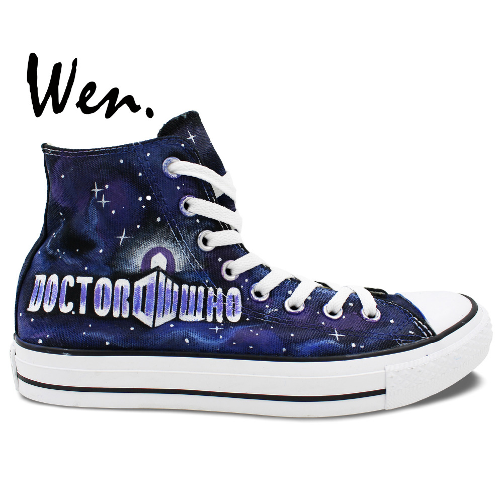 54f5215b2bdb Wen Best Popular Hand Painted Shoes Custom Design Doctor Who Police Box  Galaxy Men Women s Blue High Top Casual Canvas Shoes