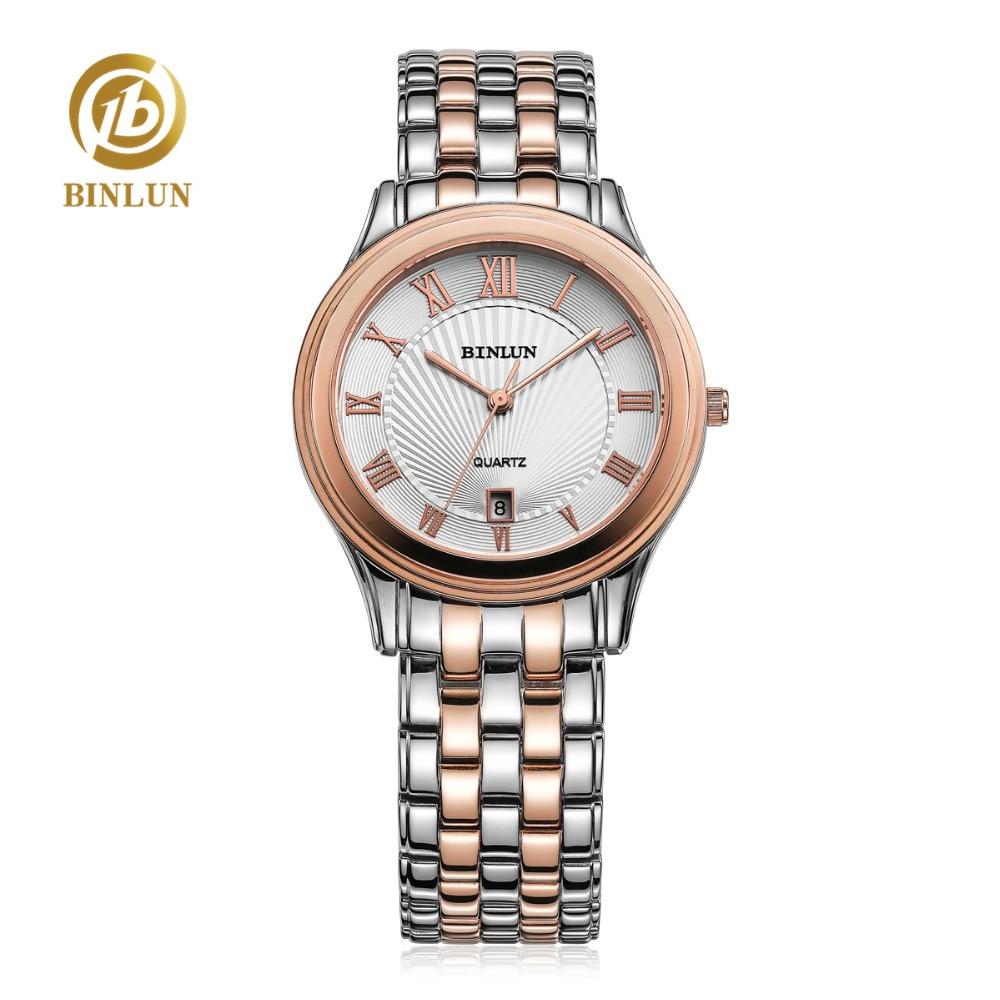 все цены на BINLUN Luxury Rose Gold Elegant Men's Quartz Watch Rome Dial Two Tone Band Super Thin Design Waterproof Quartz Watches For Men