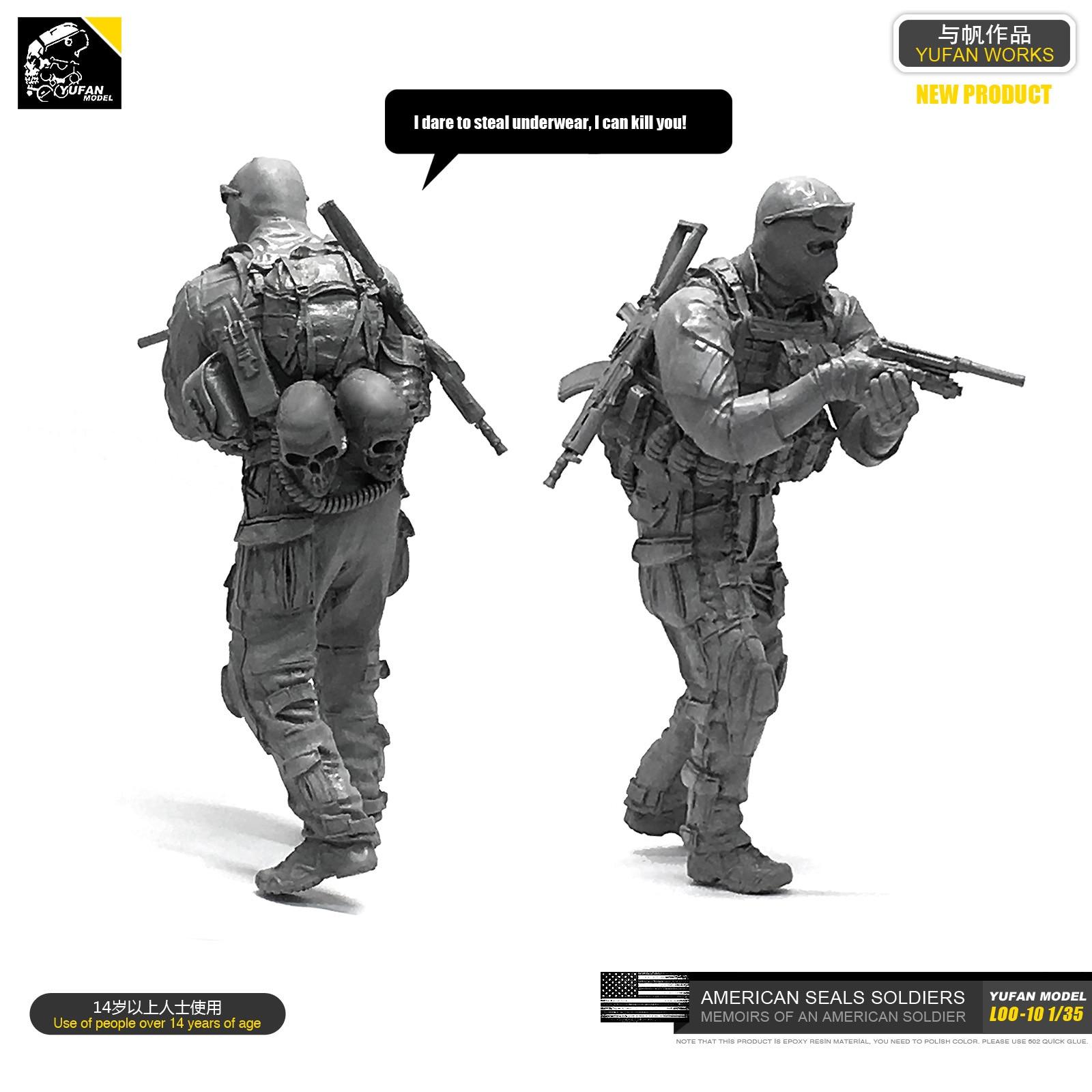Yufan  Model 1/35 Model Kit Anti-terrorist Elite Captain Resin Soldier Unmounted Loo-10