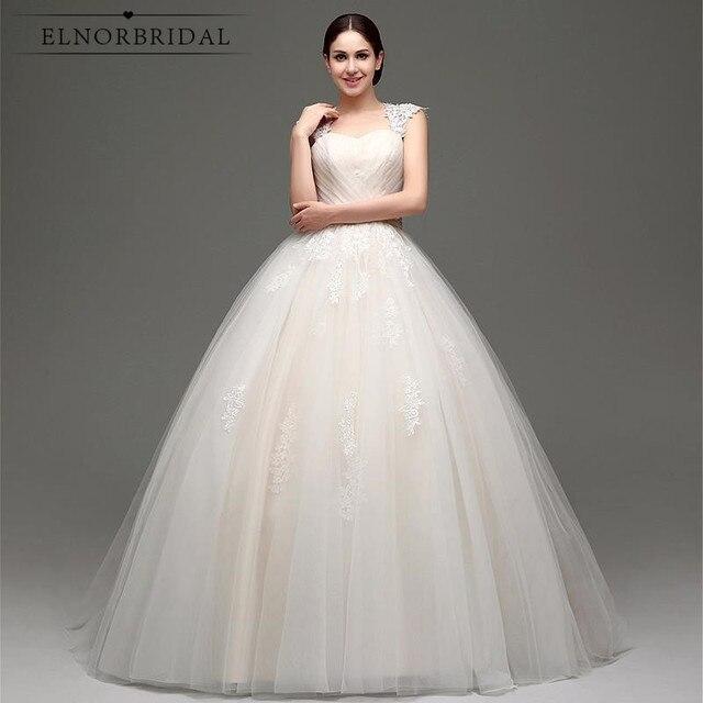 Champagne Ball Gown Wedding Dresses 2018 Hochzeitskleid Cap Sleeve ...