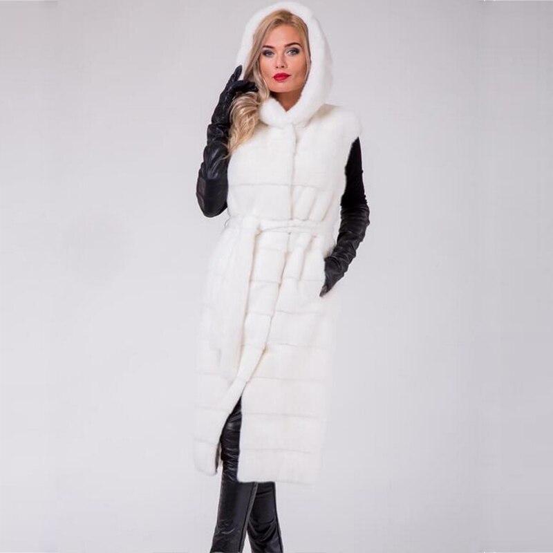Longue Automne Hottes Pour Gilet Un allumette Plus Taille Personnalisé Manteaux Tout Fourrure Vison En White Hiver Femmes De Avec Pur Blanc 4v14r6