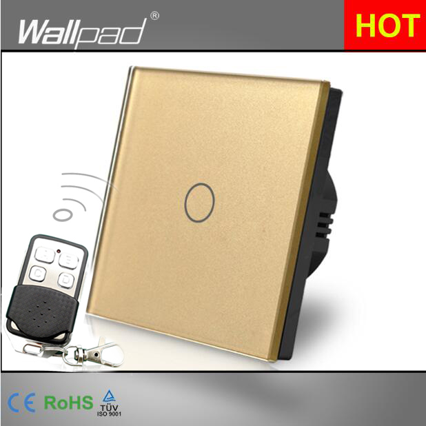 HOT Wallpad Luxury Gold Touch Crystal Glass Broadlink 1 Gang 2 Way Remote Control European UK Version Wireless Light Lamp Switch