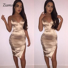 Ziamonga Women Sexy Party Dresses New Summer Deep V Neck Satin Faux Silk Dress Sleeveless Bodycon Bandage Dress Vestidos