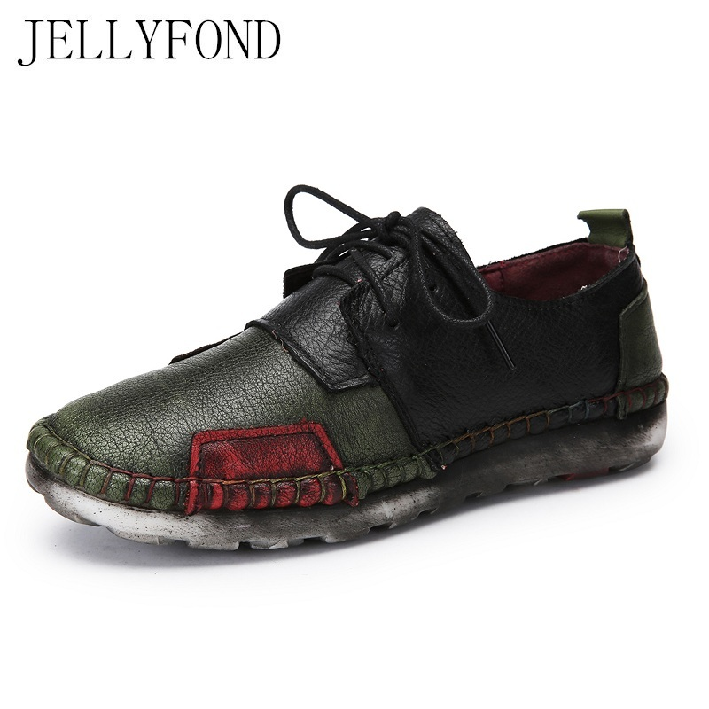Designer Handmade Genuine Leather Patchwork Women Flats 2017 Vintage Style Round Toe Lace Up Moccasins Loafers Shoes  Woman women ladies flats vintage pu leather loafers pointed toe silver metal design