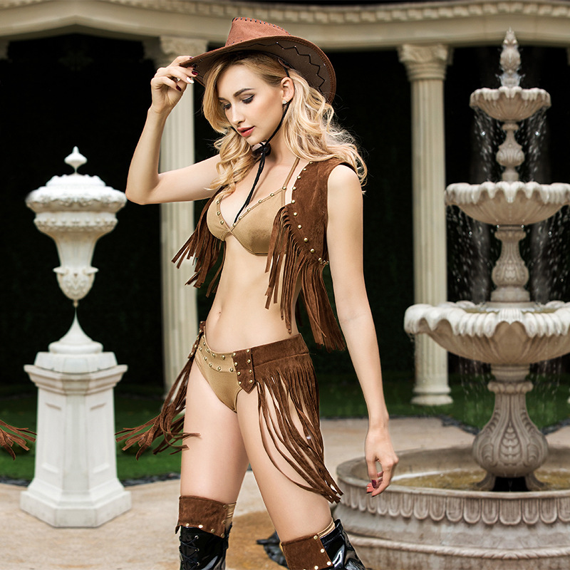 New Cowgirl Costume Cosplay Set Sexy Women Cowboy Role Play Movie TV Character Costume Tassel Hot Ladies Party Wear Clothing