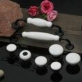 5 pcs Preto e branco de cerâmica gabinete punho da gaveta do armário da cozinha punho 160mm Único Furo