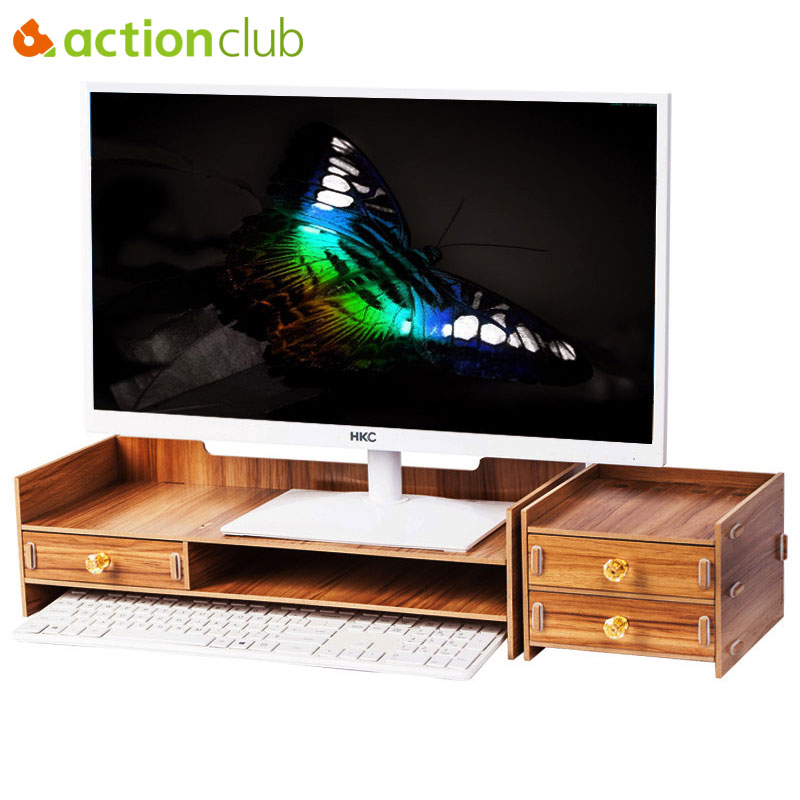 Actionclub Wooden Desktop Monitor Stand Riser Holder Monitor Stand Desk Organizer Storage Box Case For Computer Laptop TV entertainment center