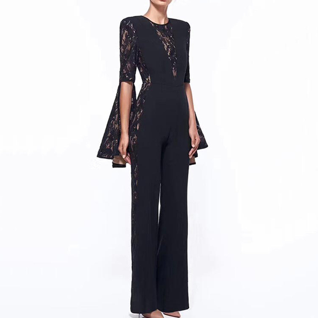 8789f7a920ae HIGH QUALITY New Fashion Runway 2018 Designer Jumpsuit Women s Flare Sleeve Lace  Patchwork Jumpsuit Romper
