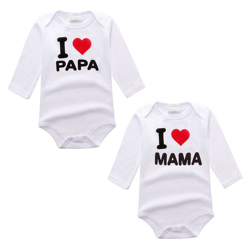 Newborn Baby Clothing Long Sleeve Cotton i love papa mama Next Baby Rompers Girls Boys Clothes roupas de bebe Infantil Costumes 2 pcs lot newborn baby girls clothing set cute pink cotton baby rompers boys jumpsuit roupas de infantil overalls coveralls